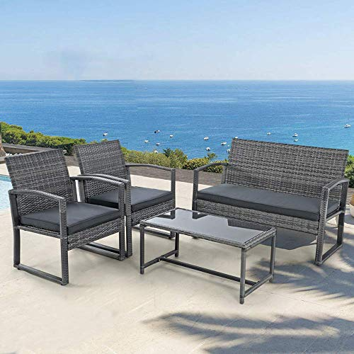 Patiorama 4 Pieces Outdoor Patio Furniture Set, Outdoor Wicker Conversation Set, Patio Rattan Chair Set, Modern Bistro Set with Coffee Table, Garden Balcony Backyard Poolside (Dark Grey)