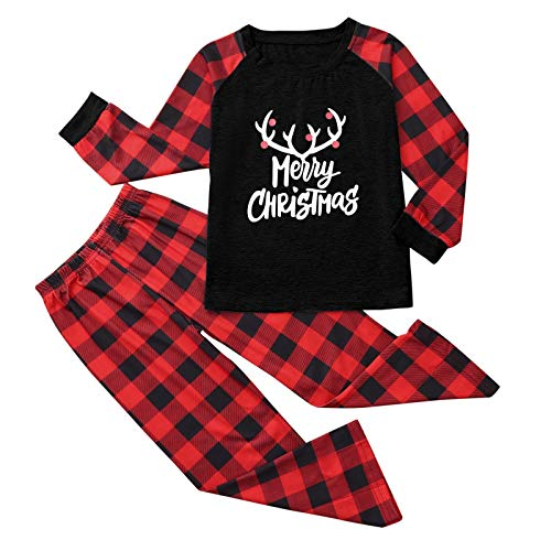 DEESEE(TM)_Home 2020 Christmas Pajamas, Family Pajamas Set, Letter Plaid Print Top Blouse+Pant (Kids,7 Years)