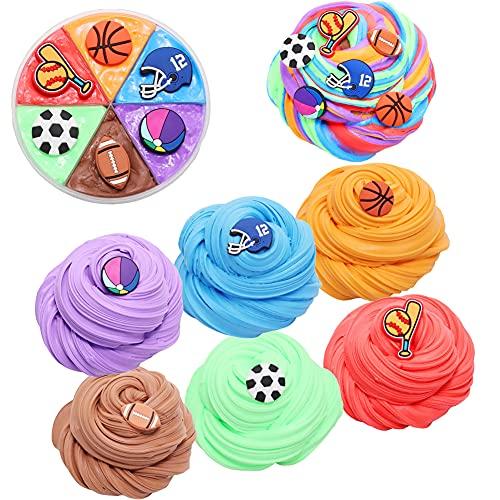 SWZY Slime Fluffy,Slime, flufly Cloud Slime ,con béisbol, fútbol, Baloncesto, Rugby...Slime para Niño y niña, Stress Relief Toy 6 Colores