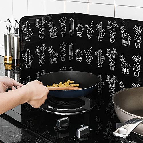 Gaddrt Spritzschutz Home Kitchen Herd Folie Platte verhindern Öl Spritzen Kochen heiße Schallwand Küchenwerkzeug 84 x 33cm (Schwarz)