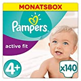 Pampers Active Fit Windeln Monatsbox, Größe 4+, 9-18kg x140 Windeln