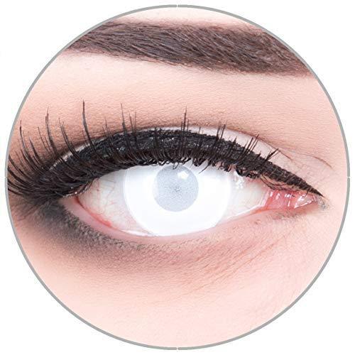 Farbige Kontaktlinsen Blind Mentalist FAST KEINE SICHT komplett weiß 60% Sehvermögen weich ohne Stärke 2er Pack + gratis Behälter – 12 Monatslinsen - perfekt zu Halloween Karneval Fasching Fasnacht
