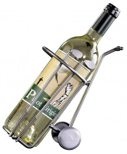 Sportiques Tolles Golfgeschenk | Weinflaschenhalter Golfbag | handgefertige Unikate aus Metall