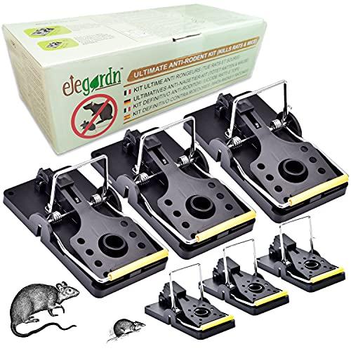 Elegardn Kit definitivo para el Control de roedores, 3 Grandes trampas para Ratas y 3 pequeñas trampas para Ratones de Grado Profesional Altamente efectivas sin Veneno con Tanques de Cebo