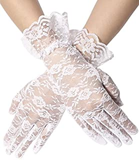SATINIOR Ladies Lace Gloves Elegant Short Gloves Courtesy Summer Gloves for Wedding Dinner Parties