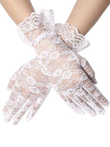 Ladies Elegant White Lace Gloves for Madonna Virgin Bride Look