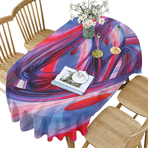 Decorative Polyester Oval Tablecloth,Festive Colorful Swirls Pattern Printed Washable Indoor Outdoor Table Cloth,52x70 Inch Oval,for Holiday Home Christmas Party Picnic