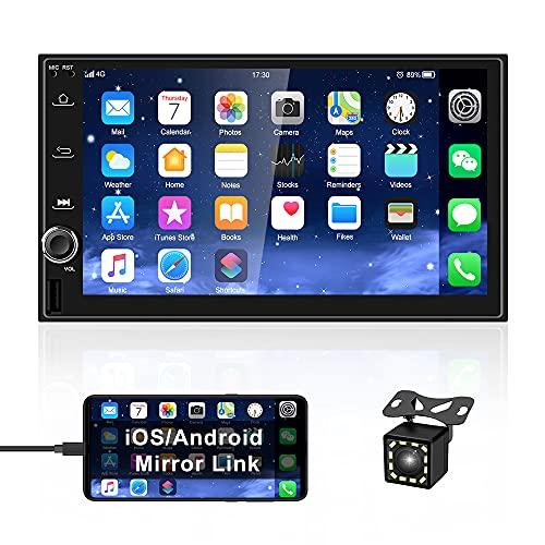 OiLiehu Android Doble DIN Car Radio Audio Bluetooth Touch Reproductor MP5, EstéReo Multimedia De 7 Pulgadas, Soporte De Pantalla Dual, Mirror Link USB FM WiFi NavegacióN GPS