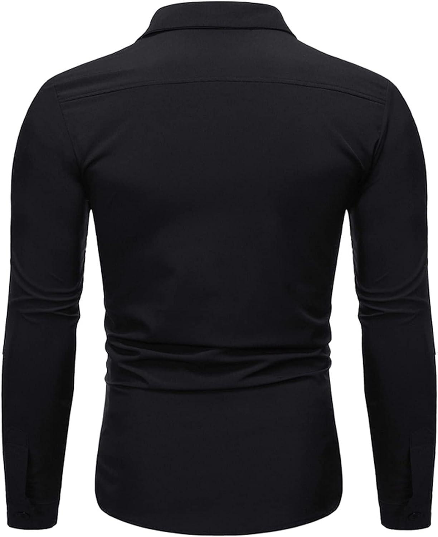 Men's Regular-Fit Button-Down Blazer Shirts V Neck Casual Formal Classic Business Blazer Suit Jacket Coats