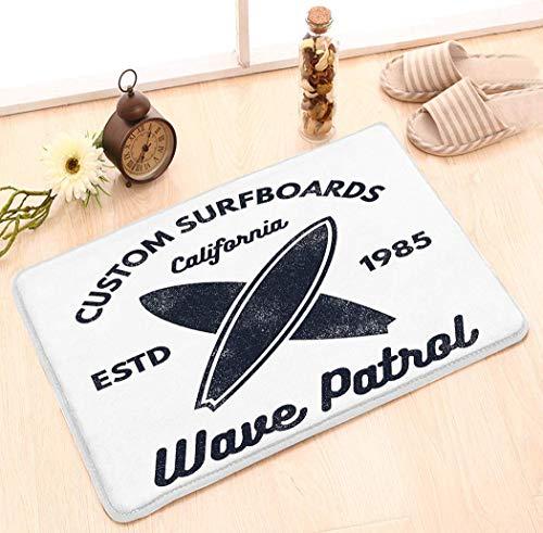 Alfombras de área Cubierta de almohadilla antideslizante personalizada Felpudo Patrón de alfombra en surf vintage Emblemas retro Impresión web Surfer Beach Style Logo Insignia de surf Sello de tabla d