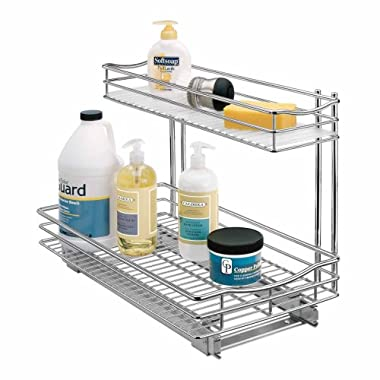 Lynk Professional Slide Out Under Sink Cabinet Organizer - Pull Out Two Tier Sliding Shelf - 11.5 in. wide x 21 inch deep - Chrome - Multiple Sizes Available