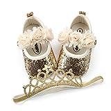 BENHERO Baby Infant Girls Soft Sole Floral Princess Mary Jane Shoes Prewalker Wedding Dress Shoes (6-12 Months Infant), C/Gold+Headband