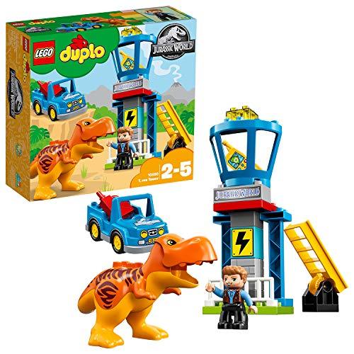 LEGO DUPLO - Jurassic World Torre del T. Rex, Juguete Preescolar de Dinosaurio con Muñeco de Owen y Coche para Niños y Niñas de 2 a 5 Años, Incluye Torre de Vigilancia (10880)