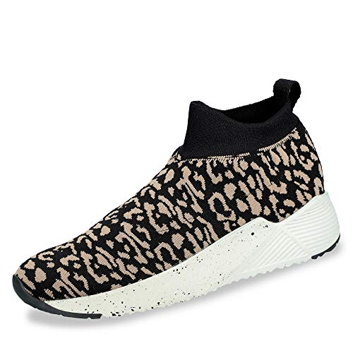 Paul Green 4813 035 Damen Sneaker aus stretchigem Textil mit Lederinnensohle, Groesse 40, beige/Leo