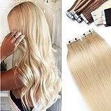 35cm - Extensiones Adhesivas de Cabello Humano [2g*40pcs] Sin Clip Tape in Hair Extension Pelo Natural - 60# Rubia Platino