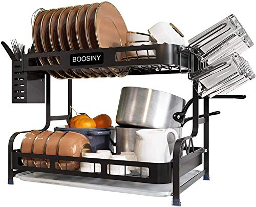 Kitchen Dish Rack, Boosiny 2 Tier Stainless Steel Large Dish Drying Rack with Drainboard Set, Utensil Holder Dish Drainer, Cup Hanging Holder and Dish Racks for Counter