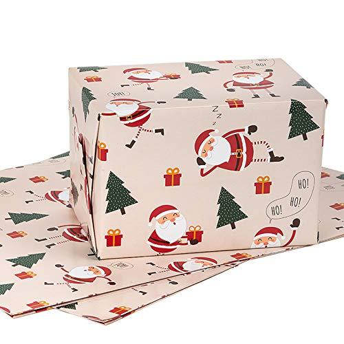 MAYPLUSS Wrapping Paper Sheet - FoldedFlat - 3 Sheets - Christmas Design(22.6 sq. ft.TTL.) - 27.5 inch X 39.4 inch Per Sheet