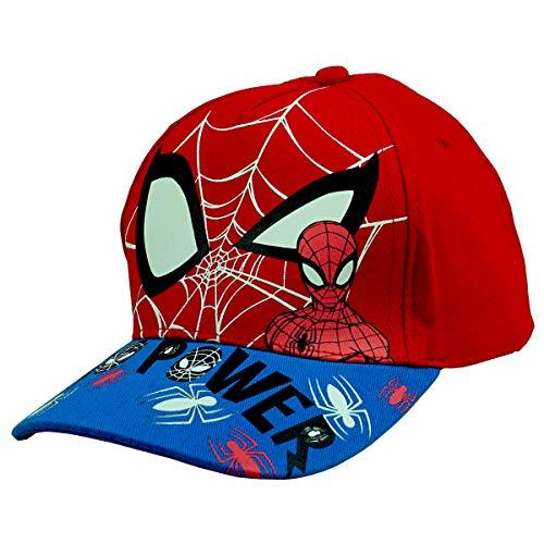 hi-lo Marvel Avengers Spider-Man Basecap Kinder nachtleuchtend Baumwolle, Rot 54, Premium Kinder-Mütze Kindergarten