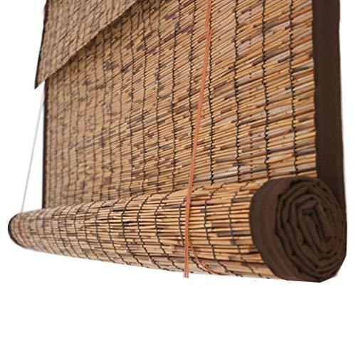 Natürliche Schilf-Jalousien,Retro-Bambus-Rollos Reed-Vorhang, Wärmeisoliert/Staubdicht,Lichtfilter Roll Up Bambusrollo,für Wohnzimmer/Garten/Terrasse,mit Armaturen(110x260cm/43x102in)