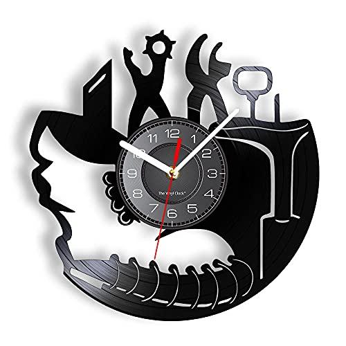 Reloj de Pared Herramientas de reparación de Zapatos Martillo de Registro Tijeras Reloj de Pared Decorativo Regalos para Zapatero Taller de reparación de Zapatos 12 Pulgadas