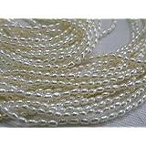 【パールチップス】淡水パール 真珠 白ホワイト(漂白) ライス型 1.8~2.0mm 一連(約38~40cm)