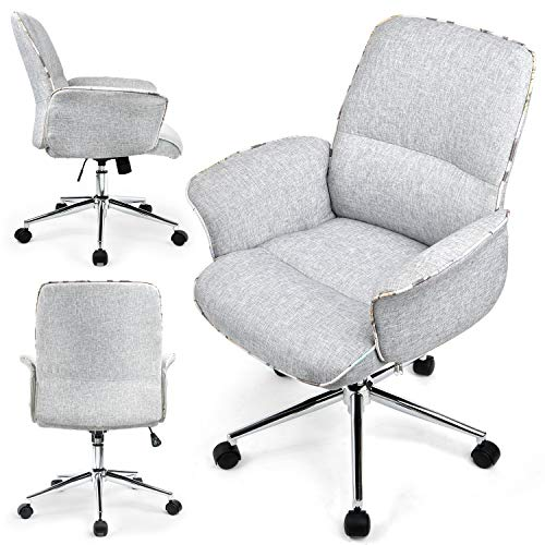 ComHoma Home Office Desk Chair Modern Fabric Upholstered Classic Adjustable Mid-Back Ergonomic Executive Conference Chair Gray,