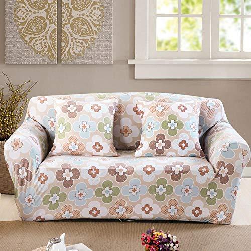 AKTYGB Primavera Funda para Sofá Elasticas,3D Lmpresión Protector Cubierta de Muebles(Gratis 2 Funda de Cojines) Sala Muebles Mascota Fundas Decorativas para Sofás - 4 Plazas Flores Coloridas