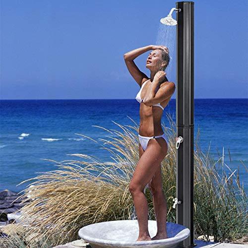 CRZJ 35 Liter Solardusche, Gartendusche mit 2 Taps, Außendusche mit Fuss Dusche, Solardusche mit warmen und kalten Ventil, 220 cm