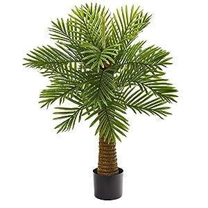 Silk Flower Arrangements Nearly Natural 3ft. Robellini Palm Artificial Silk Trees, Green