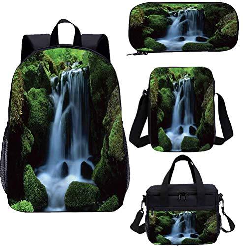 Waterfall 15' School Book Bag Lunch Bags Set,Moss Stones Flowing Water Bookbags 4 in 1