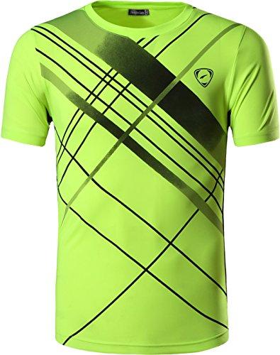 jeansian Herren Sportswear Dry Fit Sport Tee Shirt Tshirt T-Shirt Kurzarm Tennis Golf Bowling Tops LSL133 GreenYellow L