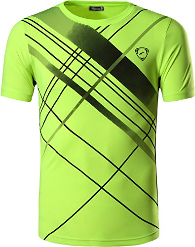 jeansian Hombre Camisetas Deportivas Wicking Quick Dry tee T-Shirt Sport Tops LSL133 GreenYellow S