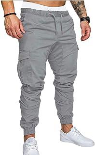 MakingDa Men's Casual Trousers Multi Pockets Slim Fit Sports Work Cargo Pants Workout Running Sweatpants Bottoms Elasticat...