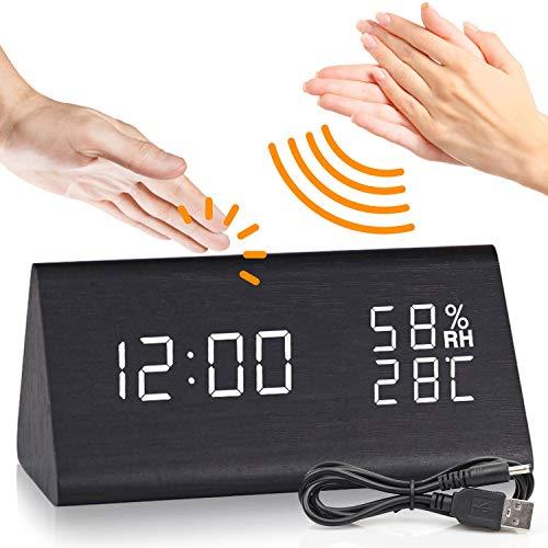 DOXHAUS Wecker Digital LED Wecker Holz Uhr, 3 Helligkeit 3 Alarm Einstellung USB Wiederaufladbar/Batterie, Mit Sound-Kontrolle, Datum Zeit Temperatur Feuchtigkeit, Für Das Home Office, Schlafzimmer