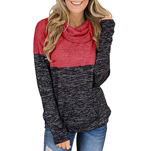 Sweatshirt Damen,Binggong Damen Rollkragenpullover Tops Splice Solid Hemden Tunika Langarmpullover