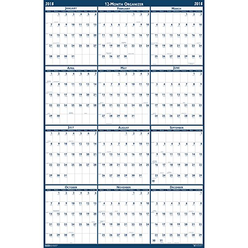 House of Doolittle 2018 Laminated Wall Calendar, Reversible, Horizontal/Vertical, 66 x 33 Inches, January - December (HOD3962-18)