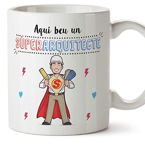 MUGFFINS Taza Arquitecto (En Catalán)Aquí beu un Súper Arquitecte Taza Desayuno/Idea Regalo Día de la Tía. Cerámica 350 mL