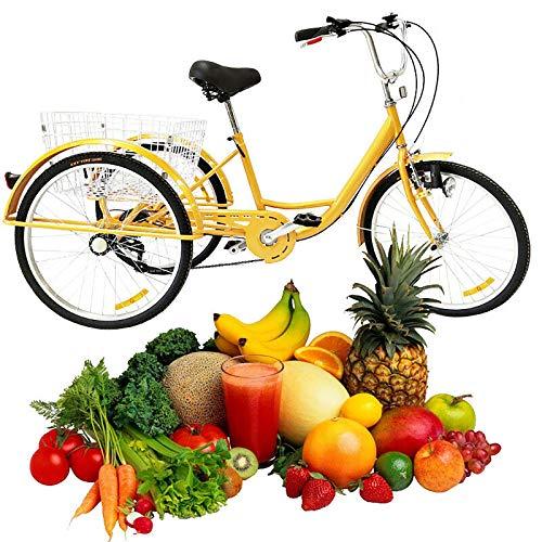 """Dreirad für Erwachsene 24\"""" 6 Gang 3 Rad Fahrrad Senioren Erwachsenendreirad Fahrräder Damen Freizeit Reisen Tricycle mit Korb und Licht, Ausflug Sport Einkaufen Shopping (Gelb)"""