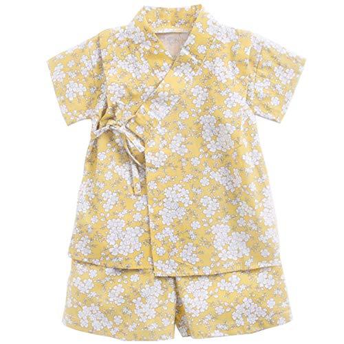 Niños Jinbei Niñas Kimono Japonés Shijira Raya Ropa de Manga Corta para Bebés (F,12-18 Meses)