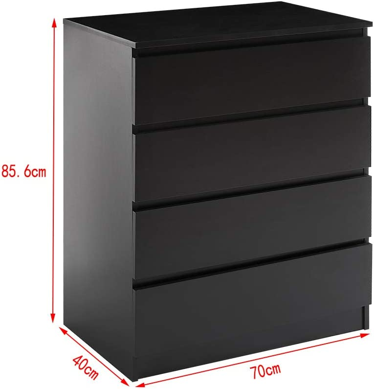 2//3//4//5//6 Bedroom Chest of Drawers with Metal Runners Wooden Bedside Storage Cabinet for Living Room Hallway Choice of 5 Sizes Black, 2 Chest of Drawer