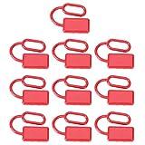 Agatige Cubierta Protectora de 10 Piezas, para Conector de Carretilla elevadora, plástico Rojo, pequeña Textura Suave, Tapa de Enchufe de batería 50A