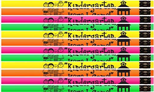Kindergarten, Here I Come Pencils! Neon Kindergartener Pencils - 36 Qty Package - Express Pencils