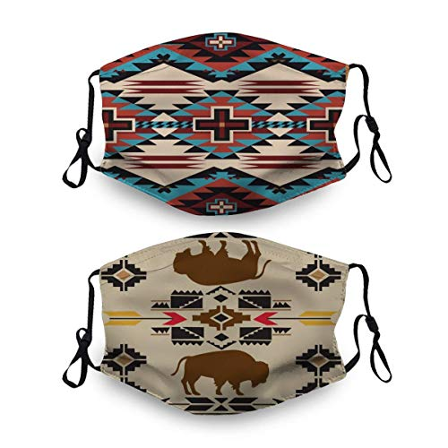 2 Pack Unisex Cloth Face Mask,American Native Pattern Face Cover Washable and Reusable Dust Cover Protective Balaclava Mask for Outdoor School Shopping Sport