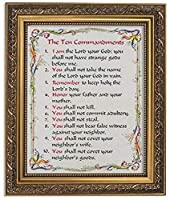 Gerffert Collection The Ten Commandments Framed Writen Inspirational Print, 13 Inch (Ornate Gold Tone Finish Frame) [並行輸入品]