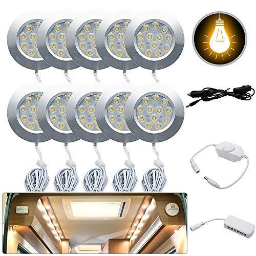 Warm Light HugeAuto 8x12V Interior LED Spot Light Charger For Camper Van Motorhome Interior Lights Kit
