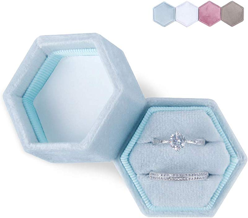 DesignSter Hexagon Velvet Ring Bearer Box Premium Gorgeous Vintage Double Ring Display Holder With Detachable Lid For Proposal Engagement Wedding Ceremony Light Blue