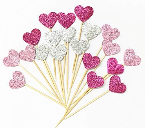 Lming Handmade 20 Counts 3 Farben Glitter Kuchen Dekorieren Toppers FÜR Kuchen Cupcake Und EIS - Rosa Herzen