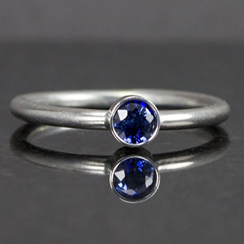 Blue Sapphire Stack Ring - Choose Genuine or Lab Created in Sterling Silver, Customize Your Band