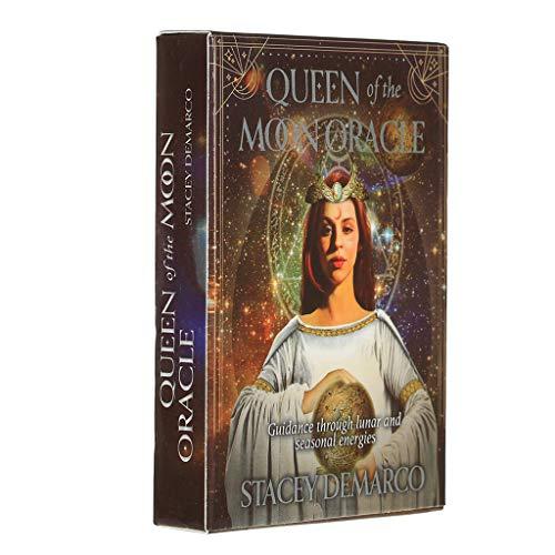 BLEUNUIT Queen of The Moon Oracle Card, Queen of The Moon Oracle Card Juego de Mesa de Fiesta en inglés Completo 44 Cartas Baraja Tarot