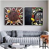 ASLKUYT Gewürze Ingwer Stern Anis Zimt Verschiedene Gewürze Plakatdruck Gemälde Wandbilder für Wohnzimmer Zeichnen -50x50cmx2 STK. Kein Rahmen
